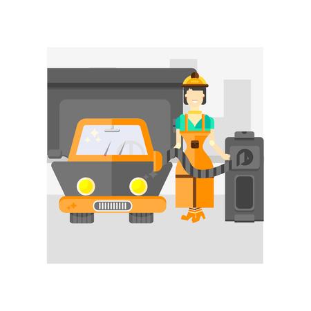 Vector icono de gasolinera aislado sobre fondo blanco para su web y diseño de aplicaciones móviles, concepto de logo de gasolinera