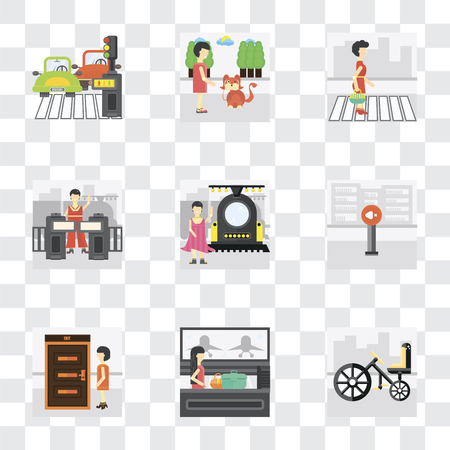 Set Of 9 simple transparency icons such as Bicycle, Airport, Exit, Silence, Train, Validating ticket, Pedestrian, Walking the dog, can be used for mobile, pixel perfect vector icon pack