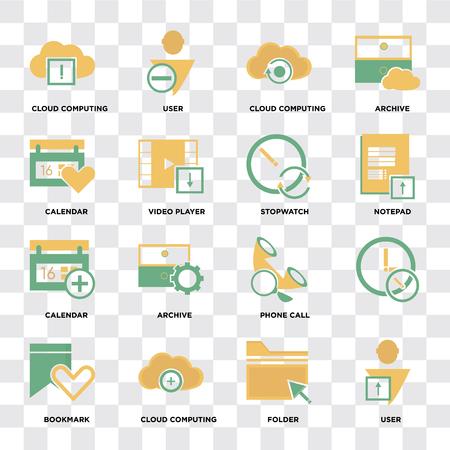 Conjunto de 16 iconos como usuario, carpeta, computación en la nube, marcador, calendario, cronómetro en píxel de fondo transparente perfecto
