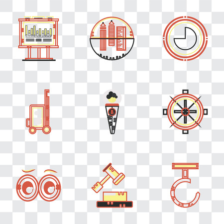 Set Of 9 simple transparency icons such as Hook, Decree, Looking, Sailing boat, Businessman, Vacations, Circular graphic, School material, Bars chart, can be used for mobile, pixel perfect vector