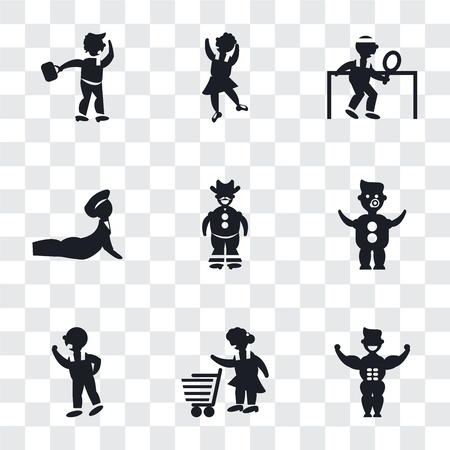 Set Of 9 simple transparency icons such as Muscular man showing his muscles, Woman with Shopping Cart, Man Threating Fist, Baby Diaper, Cowboy a gun, Yoga posture, playing ping