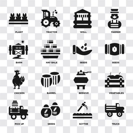Set Of 16 icons such as Truck, Scythe, Seeds, Pick up, Vegetables, Plant, Barn, Chicken on transparent background, pixel perfect