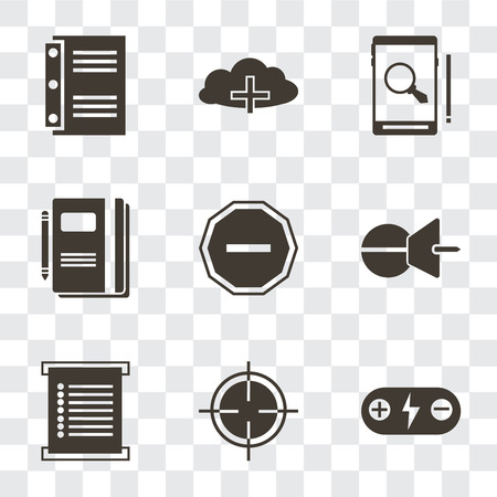 Set Of 9 simple transparency icons such as Battery, Target, Menu, Push pin, Minus, Notebook, Smartphone, Cloud computing, can be used for mobile, pixel perfect vector icon pack on