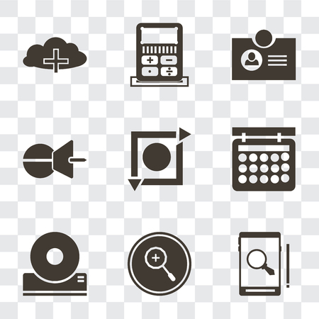 Set Of 9 simple transparency icons such as Smartphone, Zoom in, Compact disc, Calendar, Repeat, Push pin, Id card, Calculator, Cloud computing, can be used for mobile, pixel perfect vector icon pack Çizim