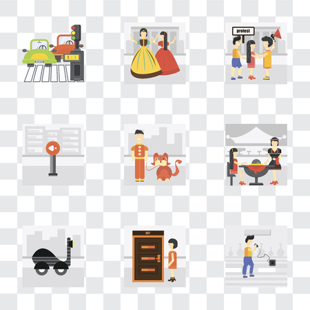 Set Of 9 simple transparency icons such as Charging, Exit, Scooter, Waiter, Walking the dog, Silence, Protest, Playing, Pedestrian, can be used for mobile, pixel perfect vector icon pack on