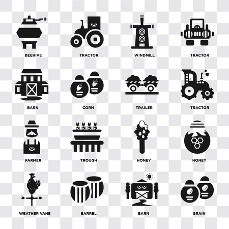 Set Of 16 icons such as Grain, Barn, Barrel, Weather vane, Honey, Beehive, Farmer, Trailer on transparent background, pixel perfect Illustration