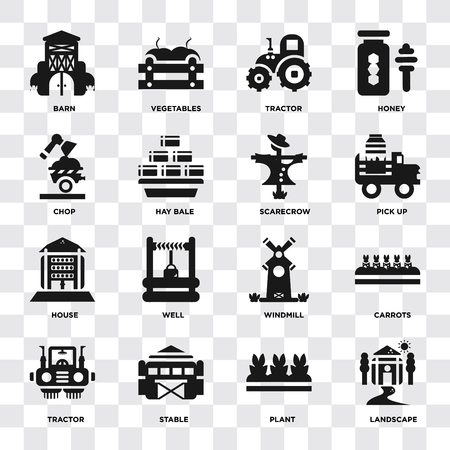 Set Of 16 icons such as Landscape, Plant, Stable, Tractor, Carrots, Barn, Chop, house, Scarecrow on transparent background, pixel perfect