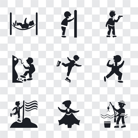Set Of 9 simple transparency icons such as Fisher fishing, Man dancing, holding a flag, Dancing Man, Ice skating man, Falling Off Precipice, Criminal heist, pushing door with his