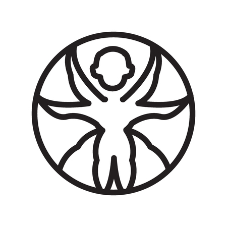 Vitruvian man icon vector isolated on white background, Vitruvian man transparent sign , line symbol or linear element design in outline style Illustration