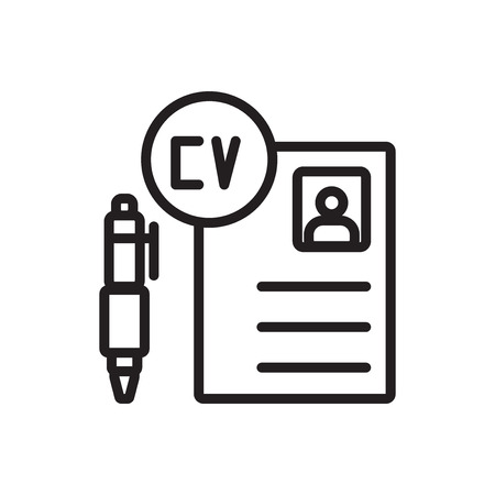 Curriculum vitae icon vector isolated on white background, Curriculum vitae transparent sign Illustration