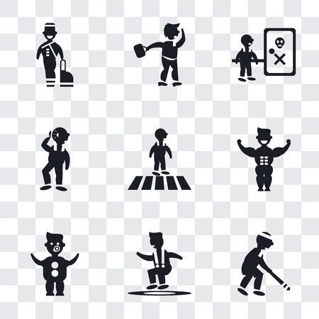 Set Of 9 simple transparency icons such as Baseball Player, Jumping Man, Baby with Diaper, Muscular man showing his muscles, Crossing Road, Man Hearing, Waves Danger, Walking Through the Wind,
