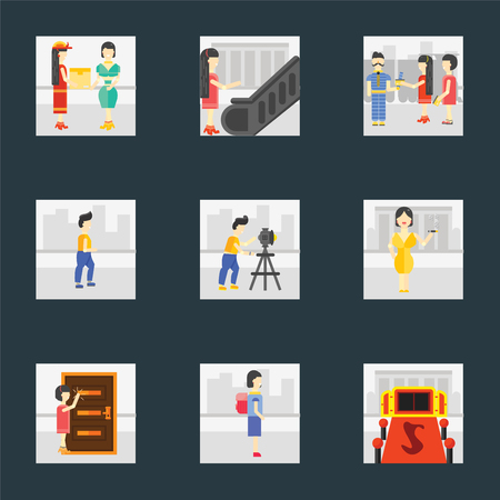 Set Of 9 simple icons such as Entrance, Walking to school, Knocking, Smoking, Photography, Walking, Ticket collector, Escalator, Courier, can be used for mobile, pixel perfect vector icon pack on