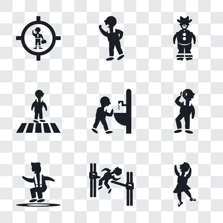 Set Of 9 simple transparency icons such as Dancer motion, Man practicing high jump, Jumping Man, Hearing, drinking, Crossing Road, Cowboy with a gun, Threating his Fist, Businessman