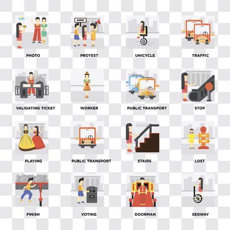 Set Of 16 icons such as Segway, Doorman, Voting, Finish, Lost, Photo, Validating ticket, Playing, Public transport on transparent background, pixel perfect Vectores