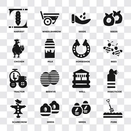 Set Of 16 icons such as Fork, Seeds, Scarecrow, Insecticide, Harvest, Chicken, Tractor, Horseshoe on transparent background, pixel perfect