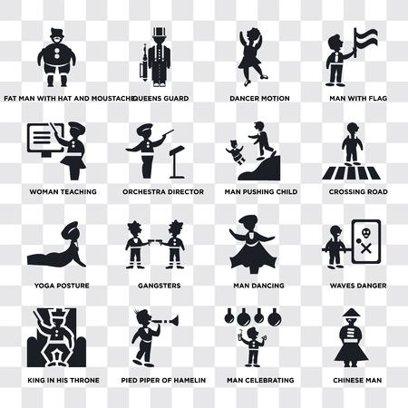 Conjunto de 16 iconos transparentes como hombre chino, director de orquesta, flautista de hamelín, rey en su trono, peligro de olas, hombre con bandera, paquete de iconos de interfaz de usuario web, píxel perfecto