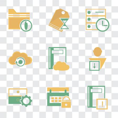 Conjunto de 9 iconos de transparencia simple como cuaderno, calendario, archivo, usuario, computación en la nube, servidor, etiqueta de precio, carpeta, se puede utilizar para dispositivos móviles, paquete de iconos vectoriales perfectos de píxeles en Ilustración de vector