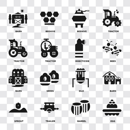 Set Of 16 icons such as Egg, Barrel, Trailer, Sprout, Barn, Tractor, Insecticide on transparent background, pixel perfect Illustration