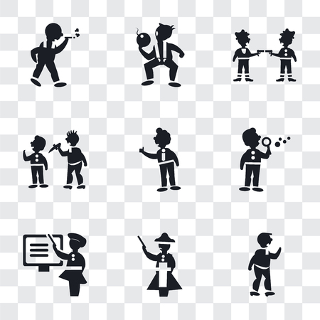 Set Of 9 simple transparency icons such as Man Punching, Napoleon figure, Woman Teaching, making soap bubbles, Tumb up business man, attacking, Gangsters, The Texas Chain Saw Massacre, 版權商用圖片 - 107193119