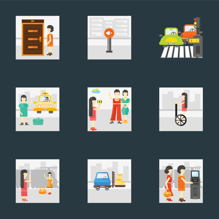Set Of 9 simple icons such as Ticket machine, Delivery man, Goodbye, Segway, Photo, Cab, Pedestrian, Silence, Exit, can be used for mobile, pixel perfect vector icon pack on black background