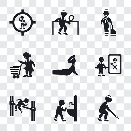 Set Of 9 simple transparency icons such as Baseball Player, Man drinking, practicing high jump, Waves Danger, Yoga posture, Woman with Shopping Cart, Bellhop, playing ping pong, Businessman Иллюстрация