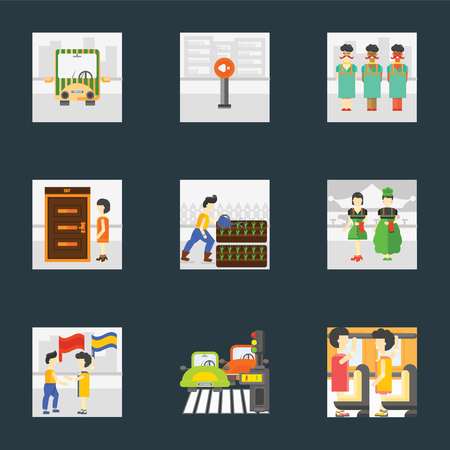 Set Of 9 simple icons such as Occupant, Pedestrian, Waving flag, Waiter, Gardening, Exit, Silence, Public transport, can be used for mobile, pixel perfect vector icon pack on black background