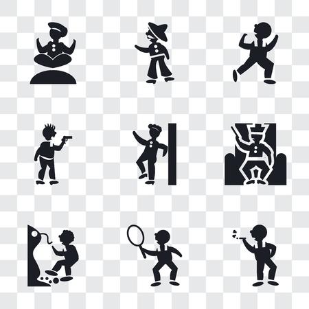 Conjunto de 9 iconos de transparencia simple como hombre fumador, jugador de tenis, hombre cayendo de un precipicio, rey en su trono, apoyado contra la pared, atraco criminal, hombre bailando, mexicano