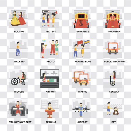 Set Of 16 icons such as Pet, Airport, Reading, Validating ticket, Segway, Playing, Walking, Bicycle, Waving flag on transparent background, pixel perfect