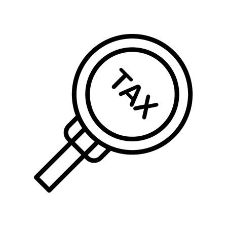 Tax icon vector isolated on white background, Tax transparent sign , line symbol or linear element design in outline style Illustration