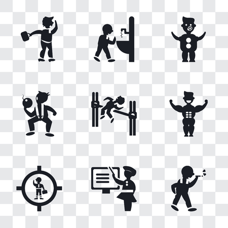 Set Of 9 simple transparency icons such as Man walking and smoking, Woman Teaching, Businessman inside a ball, Muscular man showing his muscles, practicing high jump, The Texas Chain Saw