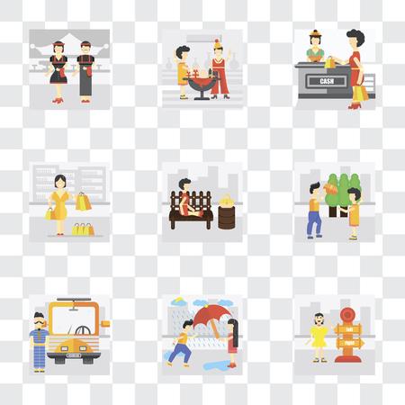 Set di 9 semplici icone di trasparenza come Lost, Helping, Driver, Park, Shopper, Shopping, Party, Cameriere, può essere utilizzato per mobile, pacchetto di icone vettoriali perfetto pixel su sfondo trasparente