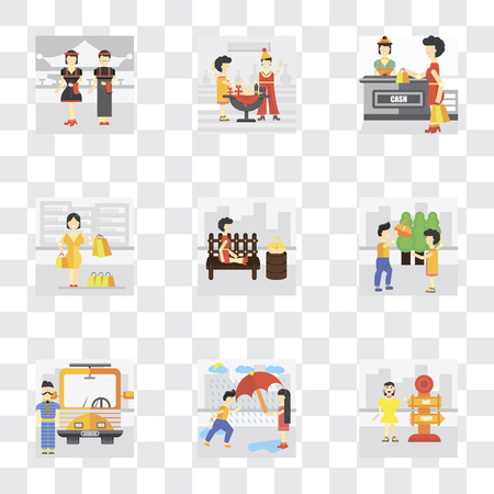 Set Of 9 simple transparency icons such as Lost, Helping, Driver, Park, Shopper, Shopping, Party, Waiter, can be used for mobile, pixel perfect vector icon pack on transparent background