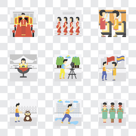 Set Of 9 simple transparency icons such as Raining, Pet, Waving flag, Photo, Eating, Occupant, Pregnant priority, Doorman, can be used for mobile, pixel perfect vector icon pack on transparent