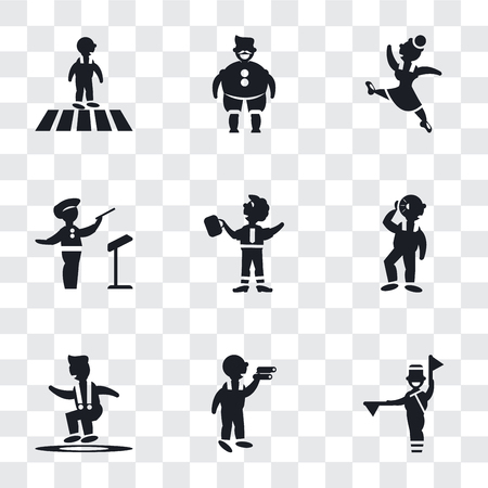 Set Of 9 simple transparency icons such as Flag semaphore language, Man looking, Jumping Man, Hearing, Businessman Dancing, Orchestra director, Gymnast Girl, Fat With Hat and Moustache, Vettoriali