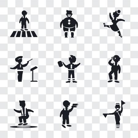 Conjunto de 9 iconos de transparencia simple como lenguaje de semáforo de bandera, hombre mirando, hombre saltador, audición, empresario bailando, director de orquesta, gimnasta, gorda con sombrero y bigote