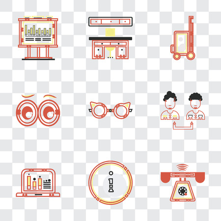 Set Of 9 simple transparency icons such as Ringing, Customer service, Collaboration, Reading glasses, Looking, Vacations, Offices, Bars chart, can be used for mobile, pixel perfect vector icon pack Banque d'images - 111748330