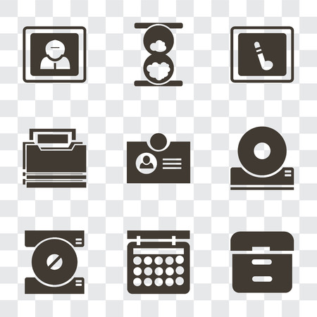 Set Of 9 simple transparency icons such as Archive, Calendar, Compact disc, Id card, Folder, Music player, Hourglass, User, can be used for mobile, pixel perfect vector icon pack on