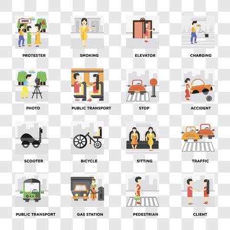 Conjunto de 16 iconos como cliente, peatón, gasolinera, transporte público, tráfico, manifestante, foto, scooter, parada sobre fondo transparente, píxel perfecto
