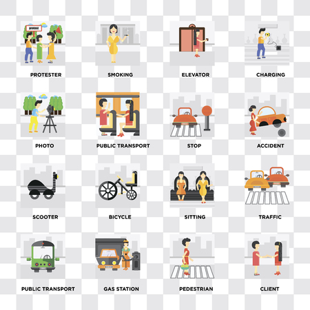Set Of 16 icons such as Client, Pedestrian, Gas station, Public transport, Traffic, Protester, Photo, Scooter, Stop on transparent background, pixel perfect Illustration