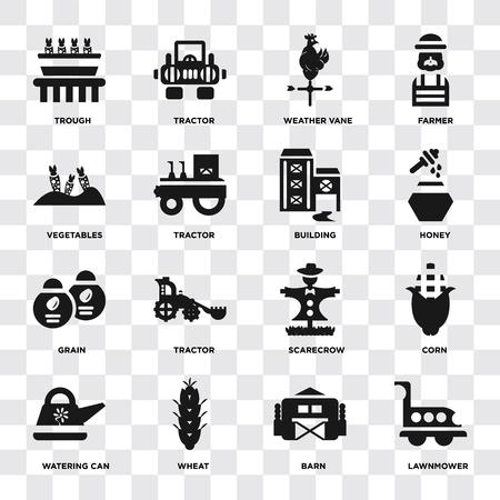 Ensemble de 16 icônes telles que tondeuse à gazon, grange, blé, arrosoir, maïs, auge, légumes, céréales, bâtiment sur fond transparent, pixel parfait