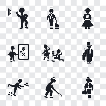 Set Of 9 simple transparency icons such as Scholar girl front, Baseball Player, Waiter Falling, Queens Guard, Boy Giving Flowers to his Girlfriend, Waves Danger, Chinese man, Bellhop, Man throwing a Ilustração