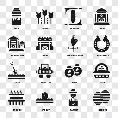 Ensemble de 16 icônes telles que ruche, agriculteur, pousse, auge, oeufs, lait, maison de ferme, bêche, girouette sur fond transparent, pixel parfait Vecteurs