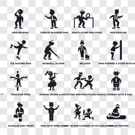 Set Of 16 transparent icons such as Muslim praying, Baseball Player, Man with open arms, Scholar girl front, Cowboy a gun, dancing, web UI icon pack, pixel perfect