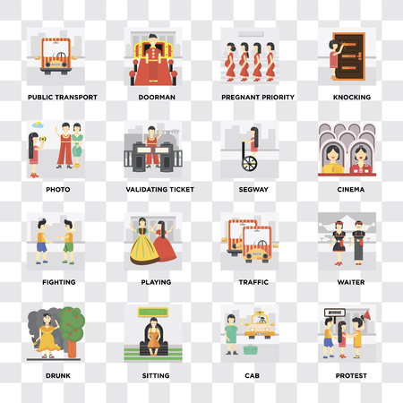 Set Of 16 icons such as Protest, Cab, Sitting, Drunk, Waiter, Public transport, Photo, Fighting, Segway on transparent background, pixel perfect Ilustração