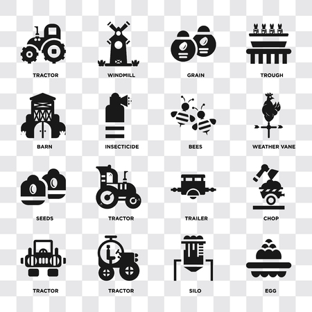 Set Of 16 icons such as Egg, Silo, Tractor, Chop, Barn, Seeds, Bees on transparent background, pixel perfect