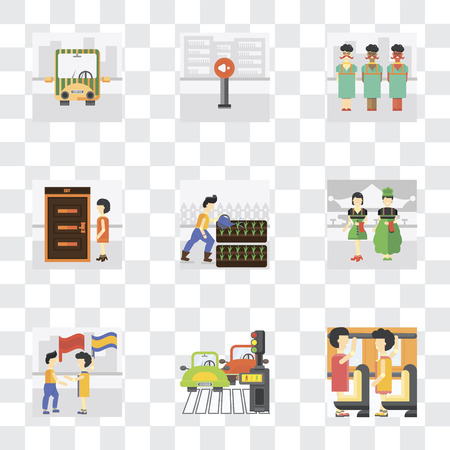 Set Of 9 simple transparency icons such as Occupant, Pedestrian, Waving flag, Waiter, Gardening, Exit, Silence, Public transport, can be used for mobile, pixel perfect vector icon pack on transparent