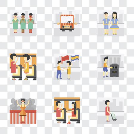 Conjunto de 9 iconos de transparencia simple como comprador, transporte público, ganador, votación, bandera ondeante, ocupante, niños, se puede utilizar para dispositivos móviles, paquete de iconos vectoriales perfectos de píxeles en