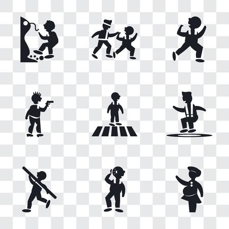 Conjunto de 9 iconos de transparencia simple como mujer cubriendo, hombre escuchando, lanzamiento de peso, hombre saltando, cruce de carreteras, atraco criminal, bailando dos hombres practicando karate, cayendo de un precipicio, puede