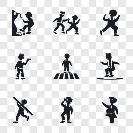 Set Of 9 simple transparency icons such as Woman covering, Man Hearing, Shot Put, Jumping Man, Crossing Road, Criminal heist, Dancing Two Men Practicing Karate, Falling Off a Precipice, can Illustration