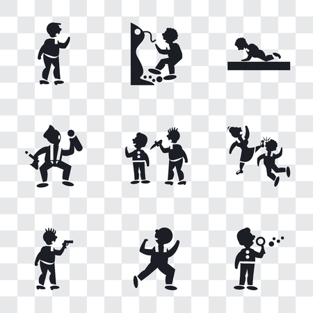 Set Of 9 simple transparency icons such as Man making soap bubbles, Dancing Man, Criminal heist, Girl Kicking a Boy in the face, attacking, Worker loading, Person practicing strengthen posture, Foto de archivo - 107174154